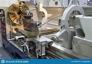 Manual Lathe Machine Stock Image  Image Of Machining