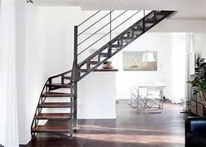 Escalier 1 4 Tournant Droit : escalier m tal et bois au style industriel photo dt100 esca 39 droit 1 4 tournant interm diaire ~ Dallasstarsshop.com Idées de Décoration