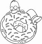 Donuts Homer Donut Coloring Pages Sheets Simpson Eat Colouring Enormous Wants Drawings Coloriage Drawing Template Batman Kitty Chucky Cartoon Simpsons sketch template