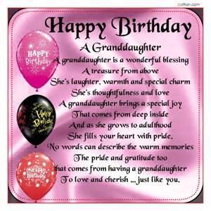 Happy Birthday Wishes Granddaughter Poem