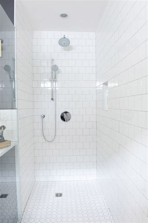 walk  shower features walls clad  white square tiles
