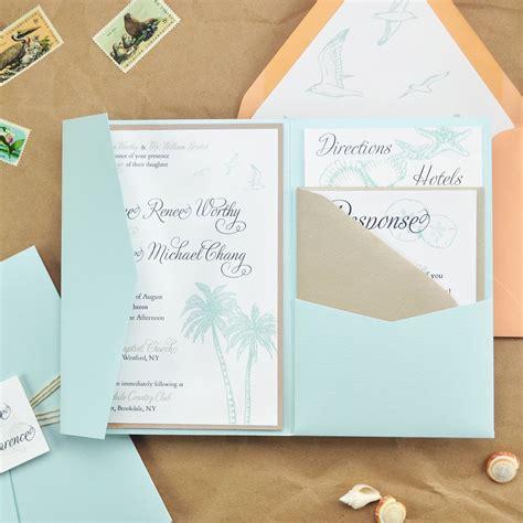diy beach wedding pocket invitation cards pockets