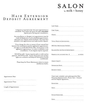 hair extension release form fill  printable