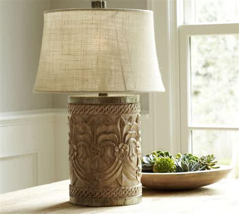 rowan carved wood table l bases pottery barn