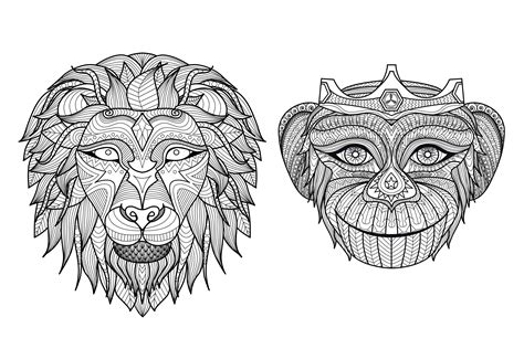 Free 3d layered mandala cut file for cricut and silhouette. Free coloring page coloring-adult-africa-heads-monkey-lion ...