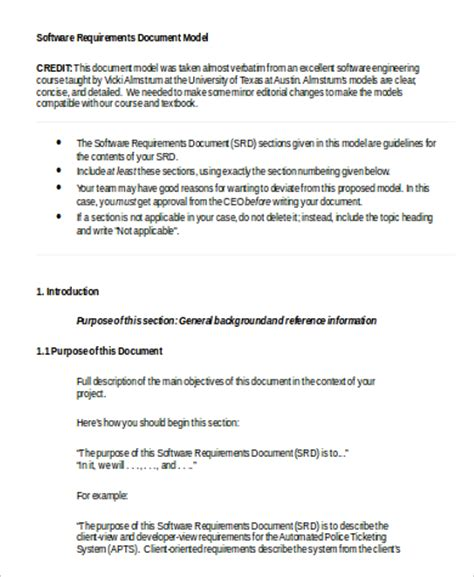 software requirements document template 9 requirements document sles sle templates