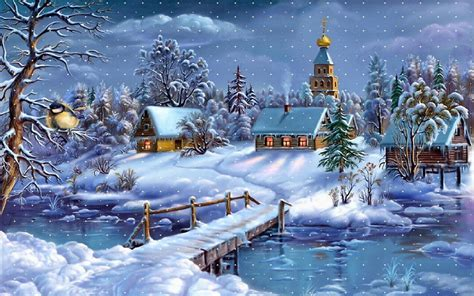 winter landscape village church river wooden bridge layer