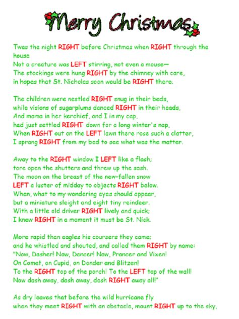 printable left right christmas game poem printable