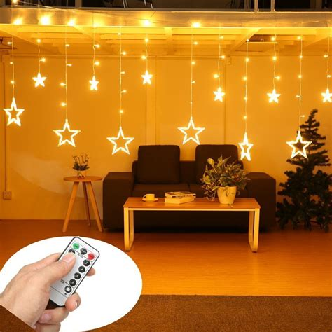 diy lights bedroom top 8 best christmas curtain lights reviews 2018 11454 | Star Curtain Lights SOLMORE 12 Stars 138 LEDs Curtain String Lights Window Lights DIY Lighting 8 Modes Dimmable with Remote for Wedding Party Backdrops Home Bedroom Indoor Wall Decorations