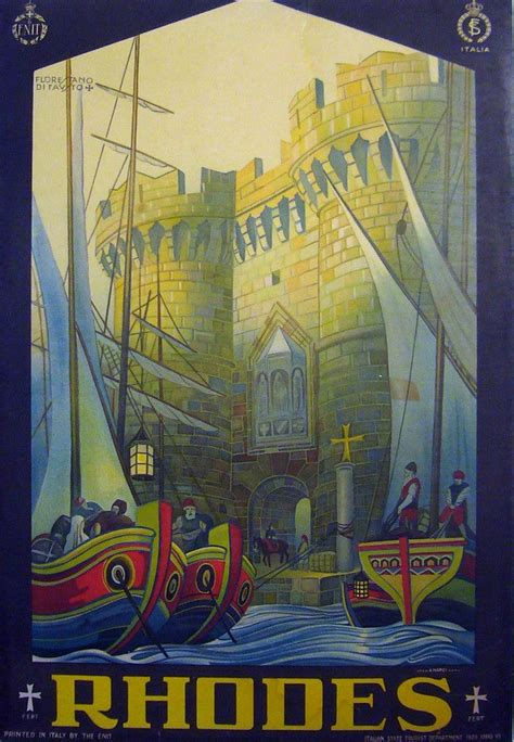 original italian art deco travel poster rhodes enit