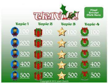 trivia christmas template jeopardy  review game