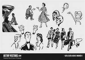 50s and 60s Men & Women Vector | Free Download