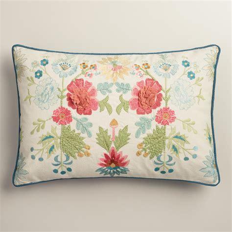 coral lumbar pillow coral and blue floral embroidered lumbar pillow world market