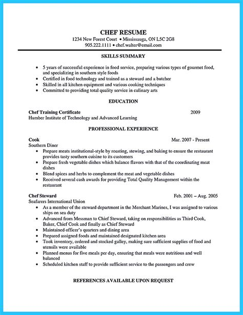 excellent culinary resume sles to help you approved