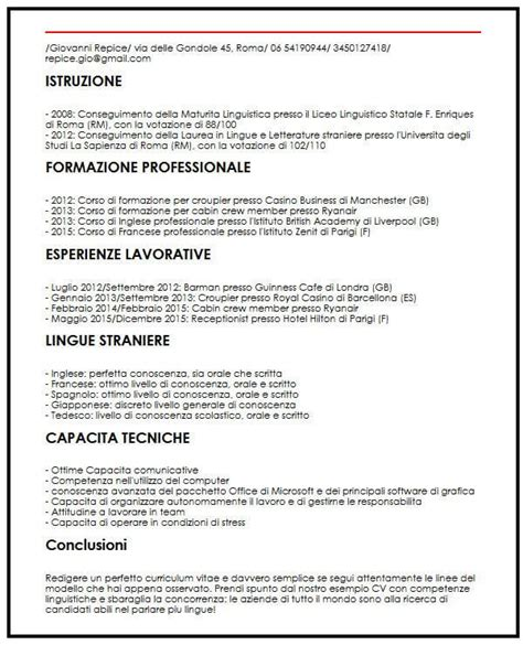 Curriculum Vitae Builder by Curriculum Vitae Receptionist Hotel Esempio