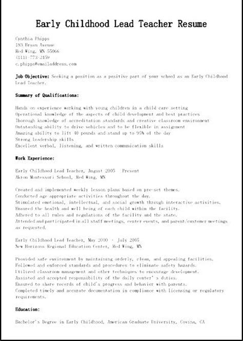 Early Childhood Resume Sle by Early Childhood Lead Education Resume Free Sles