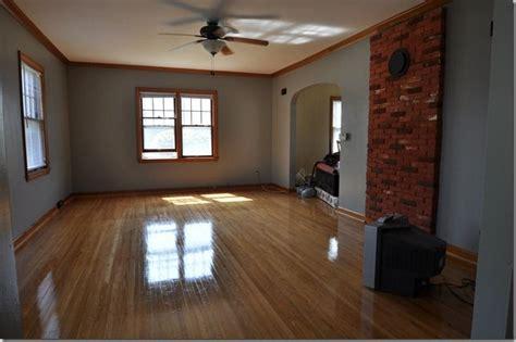 wood stain trim  gray walls walls