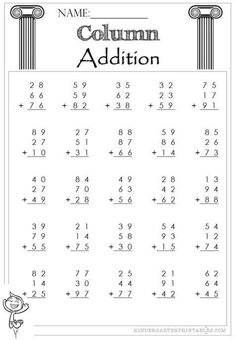 two digit column addition 3 addends worksheet column