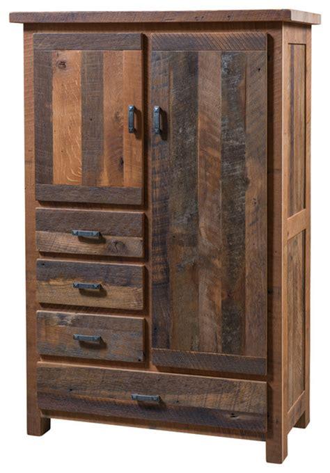 Pioneer 4 Drawer Armoire, Reclaimed Barn Wood Rustic