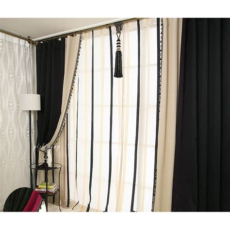 black beige color blackout solid living room curtains
