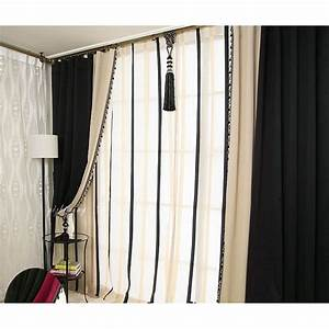 Black and white living room curtains modern house for Black curtains for living room