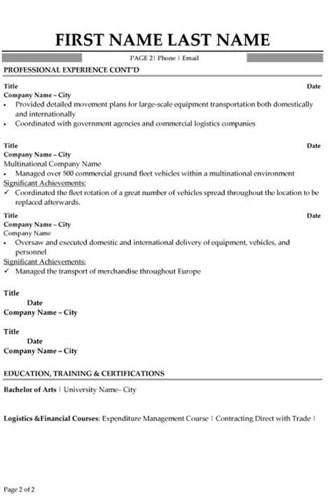 logistics specialist resume sle template