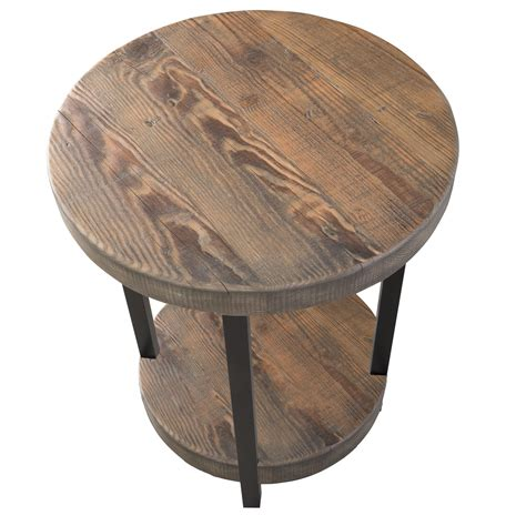 round metal end table loon peak somers 20 quot round reclaimed wood metal end table