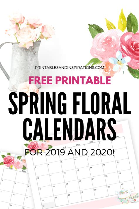 printable floral calendar planners printables
