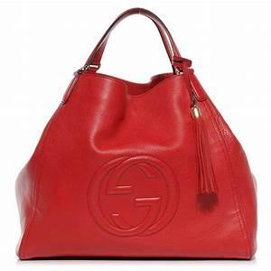 GUCCI Leather Large Soho Shoulder Bag Red 52985