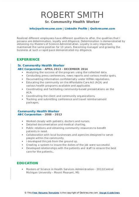 Download free cv resume 2020, 2021 samples file doc docx format or use builder creator maker. Community Health Worker Resume Samples | QwikResume