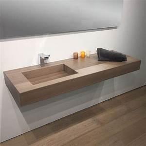 Plan Vasque Bois : plan vasque salle de bain suspendu 141x46 cm vasque excentr e stone ~ Teatrodelosmanantiales.com Idées de Décoration