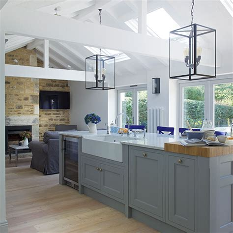 grey open plan shaker style kitchen decorating ideal home