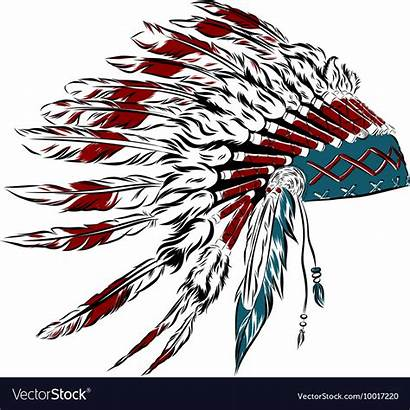 Native Feather Headdress Indian American Feathers Vector