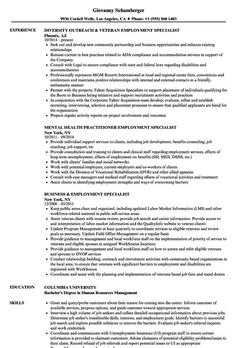 Employment Resume by Employment Specialist Resume Sles Velvet