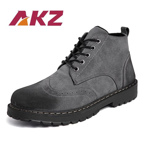Akz Autumn Winter Men Ankle Boots Cow Suede Male Martin