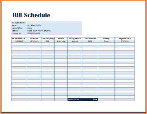 bill payment spreadsheet excel templates excel spreadsheets group