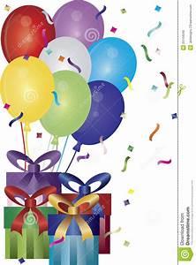 happy, birthday, presents, and, balloons, illustration, stock