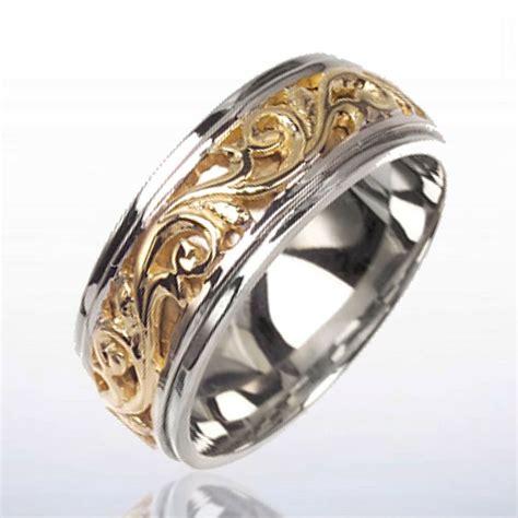 tone gold mens wedding band victorian design ebay