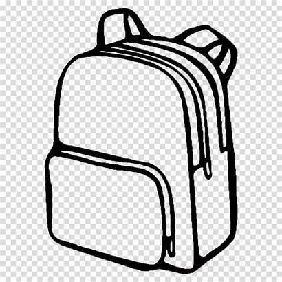 Backpack Coloring Bag Clipart Bags Cartoon Line