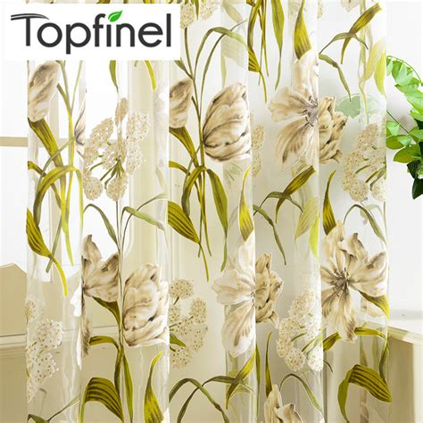 top finel tropical floral print semi sheer curtains for