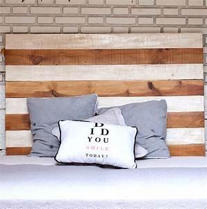 Tete De Lit Bois Blanc : t te de lit en bois brut et blanc ~ Teatrodelosmanantiales.com Idées de Décoration