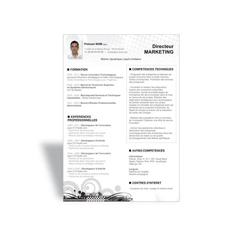modele cv cadre commercial modele cv directeur commercial lettre de motivation 2017