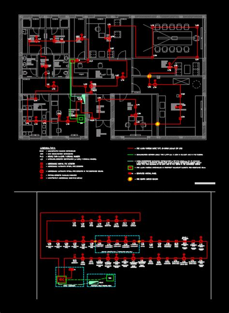fire alarm system office building  autocad cad