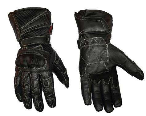 Mens Leather Mesh Summer Motorcycle Motorbike Gloves With