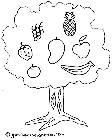 mewarnai gambar pohon buah