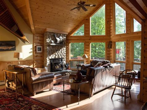 luxury log cabin style family ski lodge  minutes