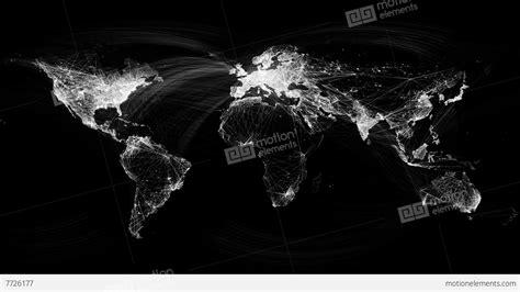 Network Lines Lighting Up World Map 4k. Black And White