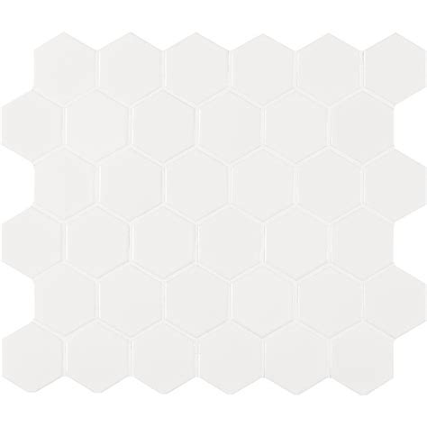 MSI White Glossy Hexagon 11 in. x 13 in. x 6 mm Porcelain