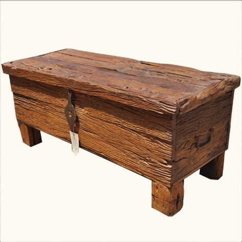 Santa Fe Rustic Railroad Ties Wood Elevated Coffee Table Chest   Traditional   Coffee Tables