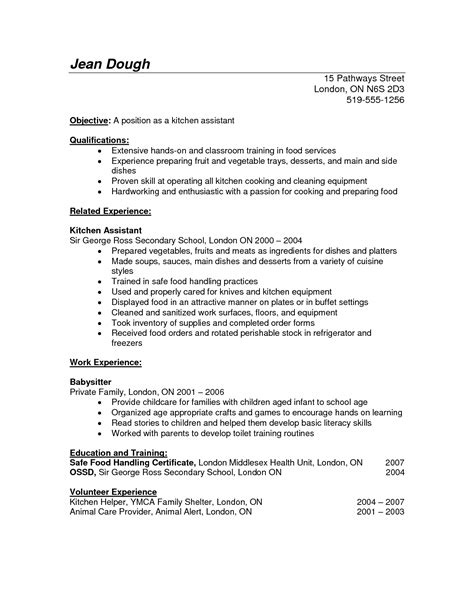 Cv Format For Cook by Resume Exles Kitchen Resume Exles